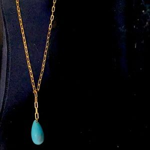 14k filled gold and turquoise tear dangling